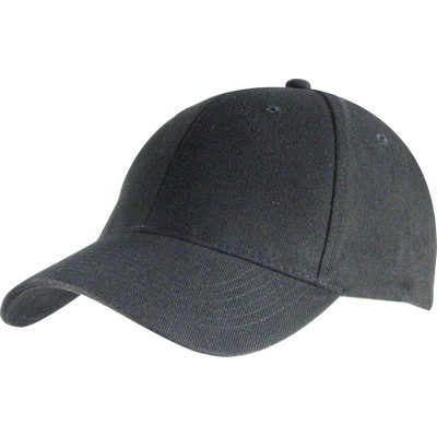 6 Panel Brushed Cotton Cap - Black HW24 (H6009BL_PREAP)