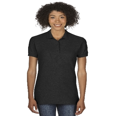 82800L Ladies 100% Cotton Dbl PiquePolo - Black (82800L2BL_PREAP)