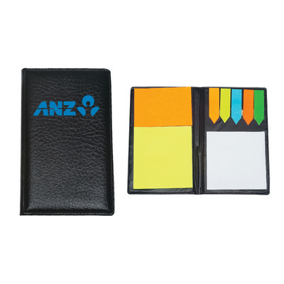 Pu Leather Padfolio With Sticky Notes & Flags (PH1360_PS)
