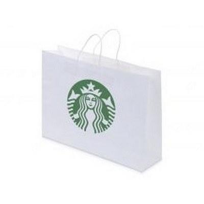 Kraft Paper Bag White Landscape Includes Twisted Paper Handle (PS4602_LS_PS)