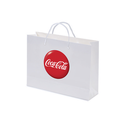 Gloss Laminated Bag White Landscape With Rope Handle (PS4603_LS_PS)