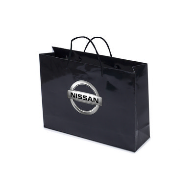 Gloss Laminated Bag Black Landscape With Rope Handle (PS4604_LS_PS)