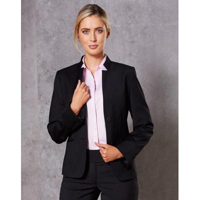 Ladies Wool Blend Stretch Reverse Lapel Jacket (M9202_WIN)