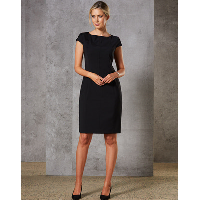 Ladies Wool Blend Stretch Cap Sleeve Dress (M9281_WIN)