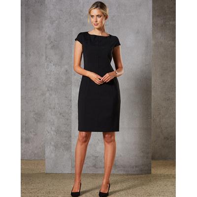 Ladies Wool Blend Stretch Cap Sleeve Dress (M9281_WIN)