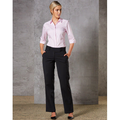 Women Wool Blend Stretch Low Rise Pants (M9410_WIN)