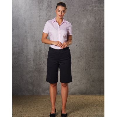 Ladies PolyViscose Stretch Knee Length Flexi Waist Shorts (M9441_WIN)