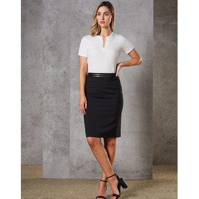 Women Wool Blend Stretch Mid Length Lined Pencil Skirt (M9470_WIN)