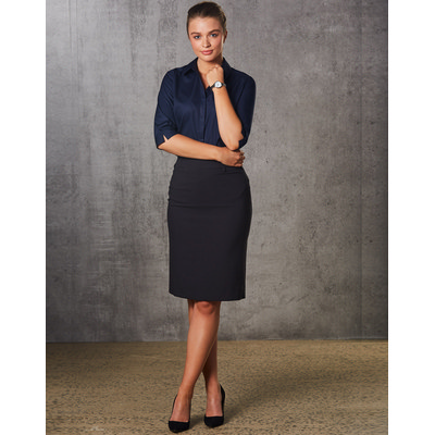 Women PolyViscose Stretch Mid Length Lined Pencil Skirt (M9471_WIN)