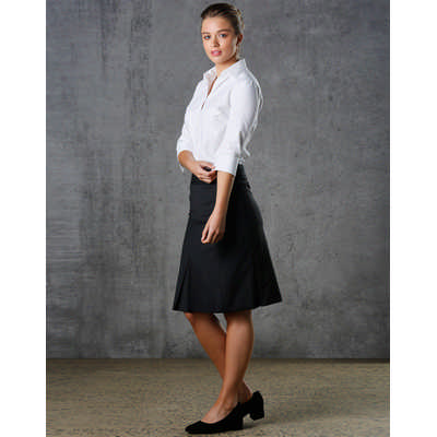 Women Wool Blend Strecth Pleated Skirt (M9473_WIN)