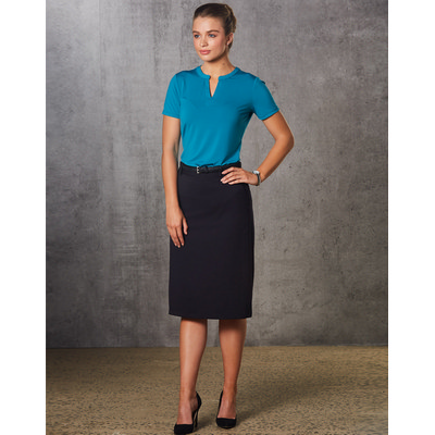 Women PolyViscose Stretch Twill Flexi Waist A-Line Utility Lined Skirt (M9478_WIN)