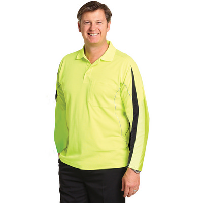 Mens TrueDry Hi-Vis Long Sleeve Polo with Reflective Piping (SW33A_WIN)