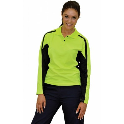 Ladies TrueDry Hi-Vis Long Sleeve Polo with Reflective Piping (SW34_WIN)