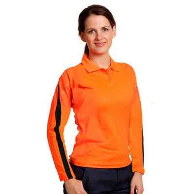 Ladies TrueDry Hi-Vis Long Sleeve Polo with Reflective Piping (SW34A_WIN)