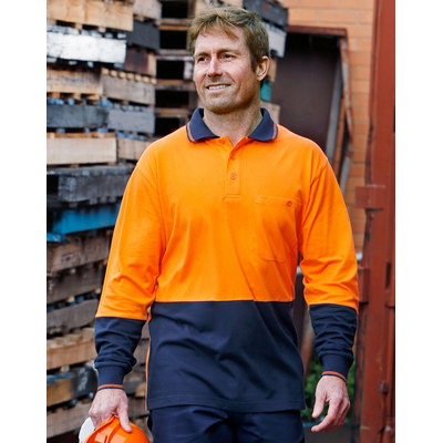 Hi-Vis Cotton Two Tone Long Sleeve Safety Polo (SW36_WIN)