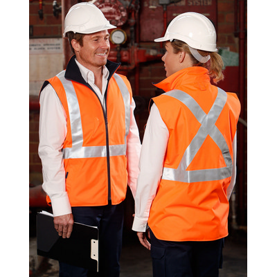 Hi-Vis Reversible Safety Vest With X Pattern 3M Reflective Tapes Shell  - (SW37_WIN)