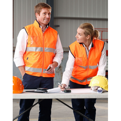 Hi-Vis Reversible Mandarin Collar Safety Vest With 3M Tapes (SW49_WIN)