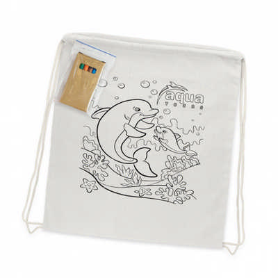 Cotton Colouring Drawstring Backpack (113013_TNZ)