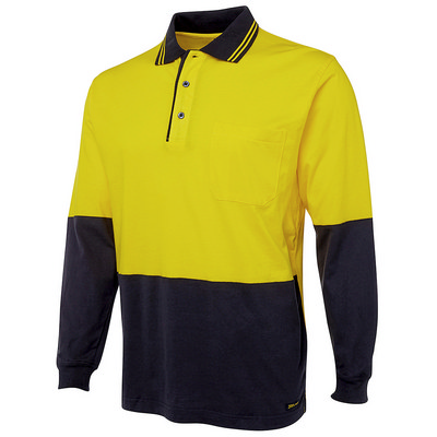 JBs Hi Vis L/S Cotton Polo  (6CPHL-XS-2XL_JBS)