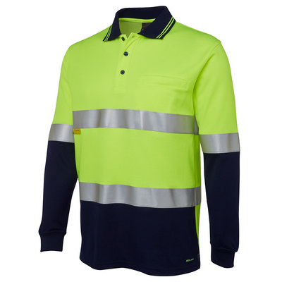 JBs Hi Vis L/S (D+N) Cotton Back Polo (6HMCB-XS-5XL_JBS)