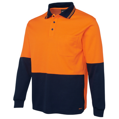 JBs Hi Vis L/S Cotton Back Polo (6HPL-XS-5XL_JBS)