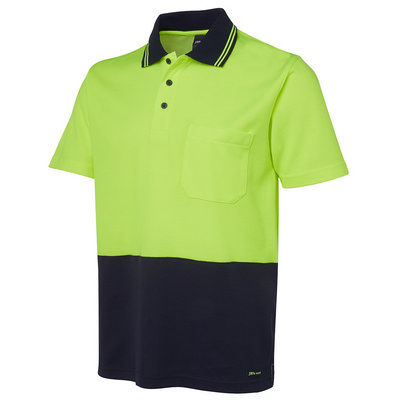JBs Hi Vis Non Cuff S/S Cotton Back Polo (6NCCS-XS-5XL_JBS)