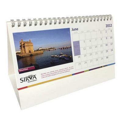 13 page wiro bound tent calendar with printed base 99x 210mm