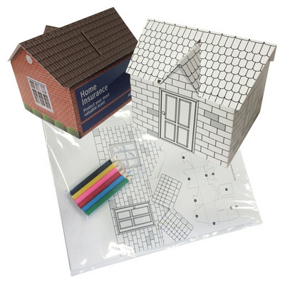 House shaped money box self assemble-colouring