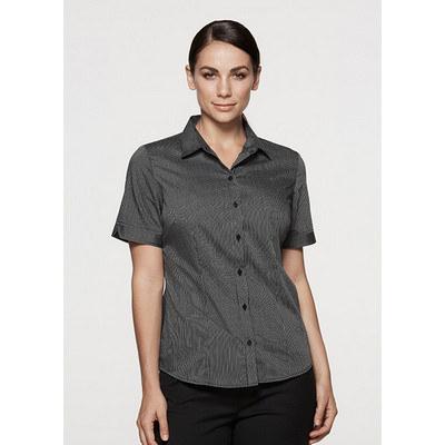 Aussie Pacific Ladies Henley Striped Short Sleeve Shirt