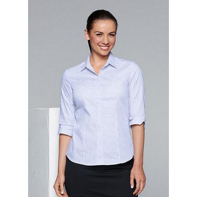 Aussie Pacific Ladies Henley Striped 3/4 Sleeve Shirt
