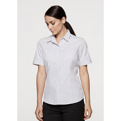 Ladies Bayview Wide Stripe Short Sleeve Shirt