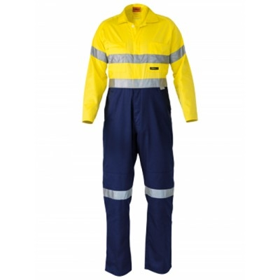 Bisley 3M Taped Two Tone Hi Vis Lightweight Coverall