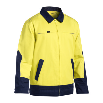 Bisley Two Tone Hi Vis Cotton Drill Jacket W/Liquid