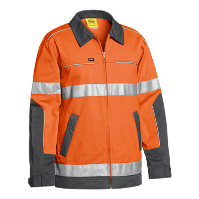 Bisley 3M Taped Two Tone Hi Vis Cotton Drill Jacket