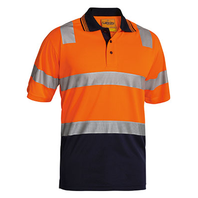 Bisley 3M Taped Two Tone Hi Vis Polyester Micromesh Polo - Short Sleeve
