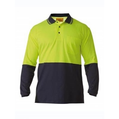 Bisley Two Tone Hi Vis Polo Shirt - Long Sleeve