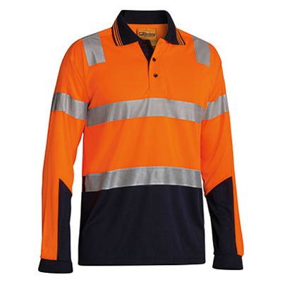 Bisley 3M Taped Two Tone Hi Vis Polyester Micromesh Polo - Long Sleeve