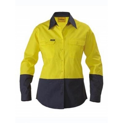 Bisley Womens Two Tone Hi Vis Drill Shirt - Long  Sleeve