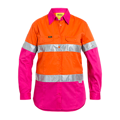 Bisley Womens 3M Taped Hi Vis Cool Lightweight Shirt With Nbcf Embroidery - Long Sleeve