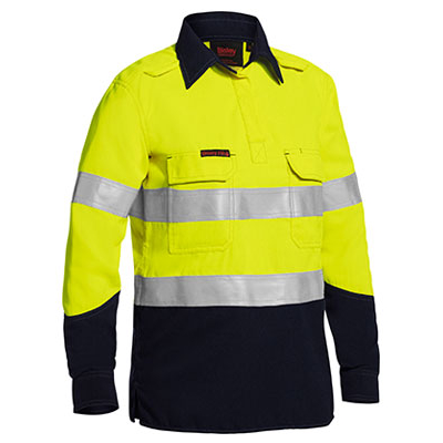 Bisley Tencate Flame Retardant Tecasafe Plus X Back  Taped Hi Vis Closed  Front Lightweight Fr Shirt With C