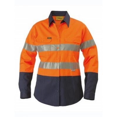 Bisley Womens 3M Taped Two Tone Hi Vis Drill Shirt - Long Sleeve