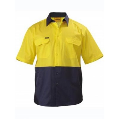 Bisley Two Tone Hi Vis Cool Lightweight Drill Shirt - Short Sleeve