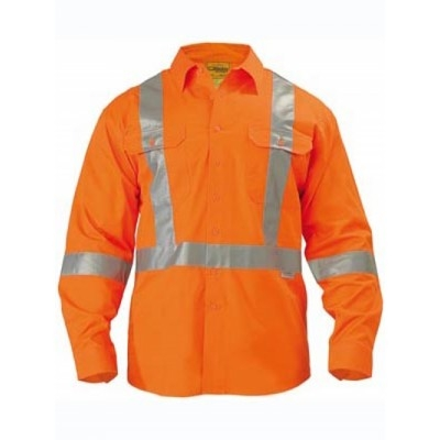 Bisley 3M Taped X-Back Cool Lightweight Hi Vis Drill Shirt - Long Sleeve