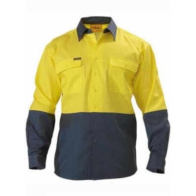 Bisley Two Tone Hi Vis Drill Shirt - Long Sleeve