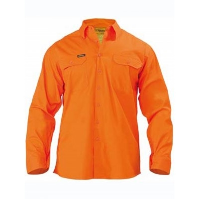 Bisley Cool Lightweight Hi Vis Drill Shirt - Long Sleeve