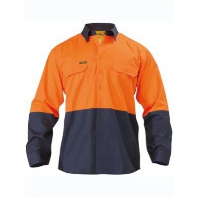 Bisley Two Tone Hi Vis Cool Lightweight Drill Shirt - Long Sleeve