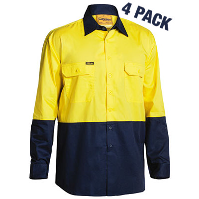 Bisley Two Tone Hi Vis Cool Lightweight Drill Shirt -