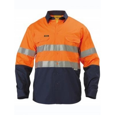 Bisley 3M Taped Two Tone Hi Vis Cool Lightweight Shirt - Embroidery Pack, 10 Units Per Size - Long Sleeve