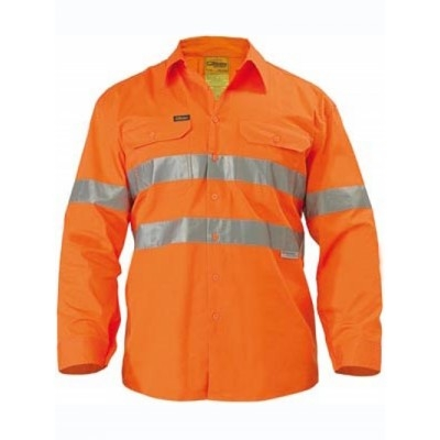Bisley 3M Taped Cool Lightweight Hi Vis Drill Shirt Long Sleeve