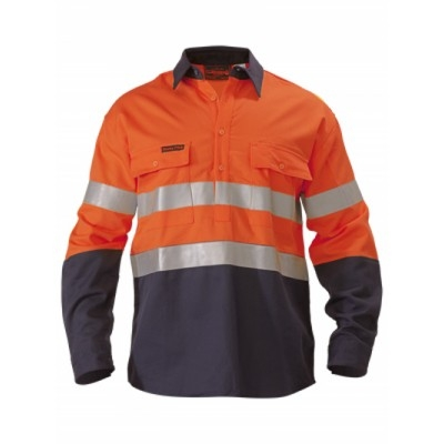 Bisley Westex Flame Retardant Ultrasoft 3M Taped Two Tone Hi Vis Fr Shirt - Long Sleeve